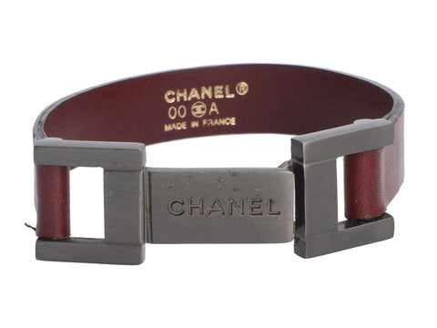 Chanel 00A Gunmetal and Brown Leather Bracelet