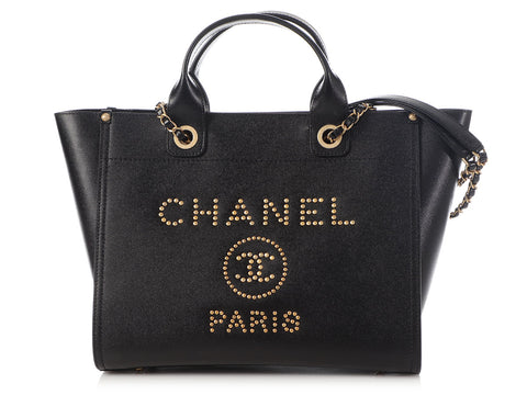 Chanel Large Black Leather Deauville Tote