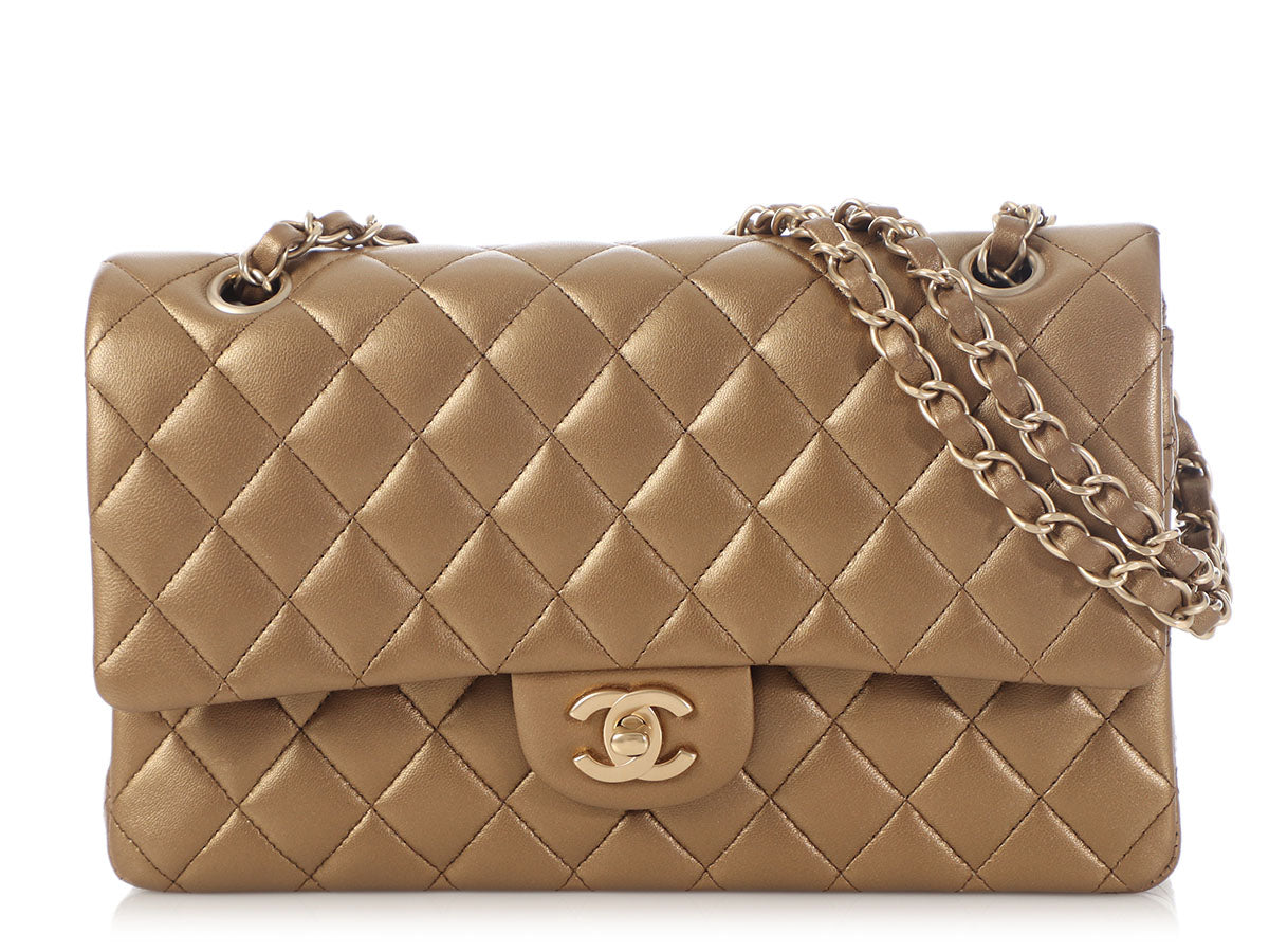 Chanel Medium/Large Bronze Quilted Lambskin Classic Double Flap