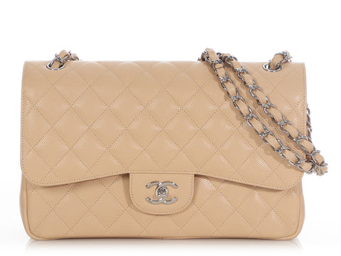 Chanel Jumbo Beige Quilted Caviar Classic Double Flap