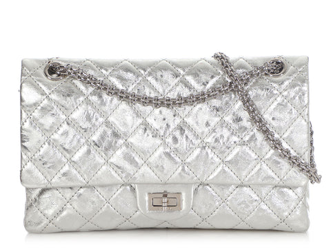 Chanel Silver Quilted Metallic Reissue 226
