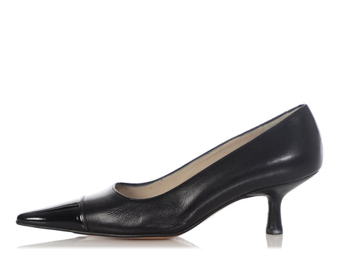 Chanel Black Cap Toe Pumps
