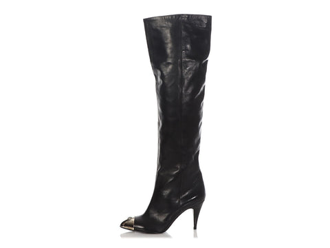 Chanel Black Capped Toe Tall Boots