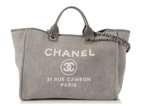Chanel Large Gray Canvas Deauville Tote