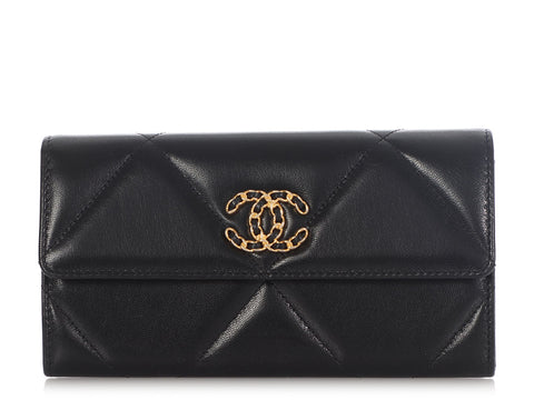 Chanel Black Quilted Goatskin Long 19 Flap Wallet