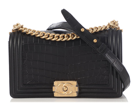 Chanel Old Medium Black Alligator Boy Bag