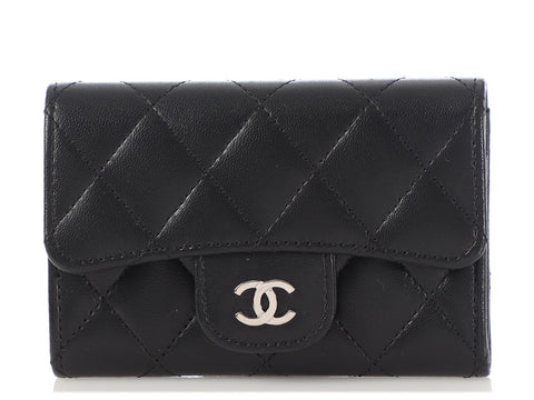 Chanel Black Quilted Lambskin Snap Card Case