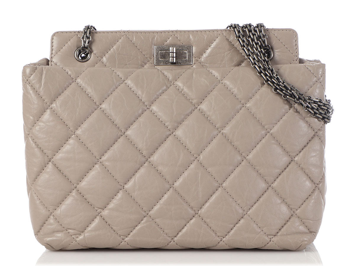 Chanel Petite Light Gray Quilted Distressed Calfskin 2.55 Reissue Tote