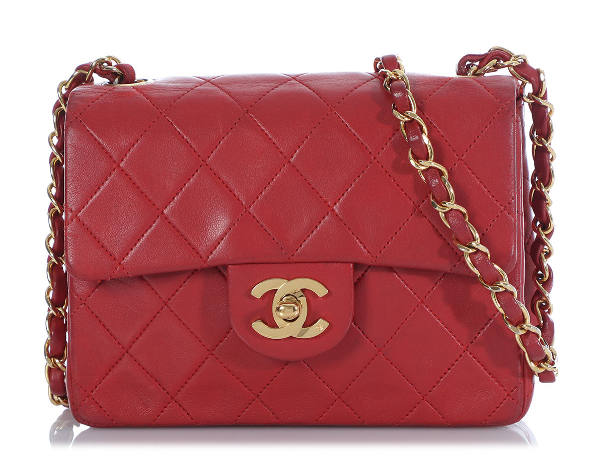 Chanel Vintage Mini Red Quilted Lambskin Classic