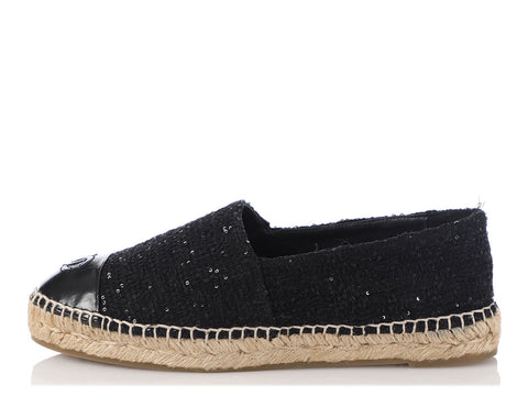Chanel Black Tweed and Sequin Espadrilles