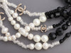 Chanel Black Beads and White Pearls 5-Strand Runway Necklace