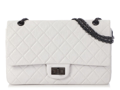 Chanel White Quilted Distressed Calfskin 2.55 Reissue 227