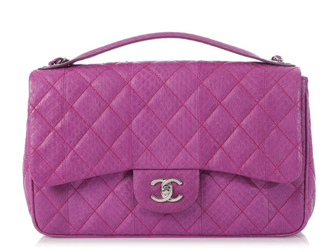 Chanel Purple Quilted Watersnake Easy Carry Flap