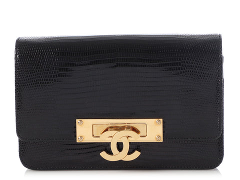 Chanel Black Shiny Lizard Golden Class Wallet on a Chain WOC