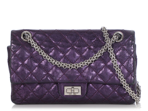 Chanel Purple Metallic Quilted Calfskin 2.55 Reissue 225