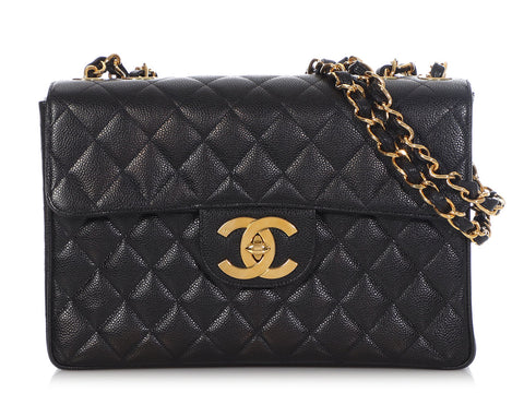 Chanel Vintage Jumbo Black Quilted Caviar Classic Single Flap