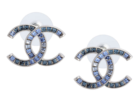 Chanel Blue Crystal Logo Pierced Earrings