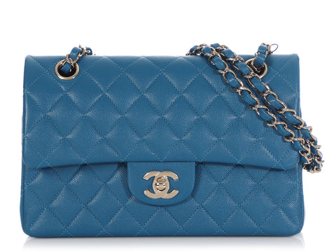 Chanel Small Blue Quilted Caviar Classic Double Flap