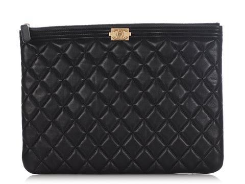 Chanel Medium Black Quilted Lambskin Boy Pouch