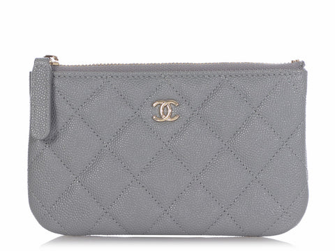 Chanel Gray Quilted Caviar Mini O Case