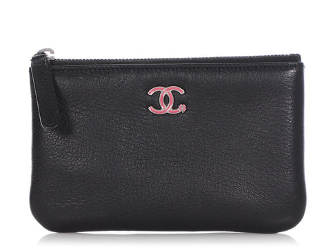 Chanel Black Calfskin Zipped Pouch