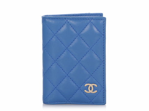 Chanel Blue Quilted Lambskin Card Case