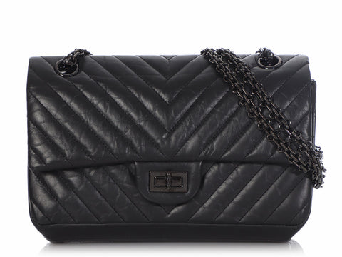 Chanel So Black Chevron-Quilted Aged Calfskin 2.55 Reissue 225