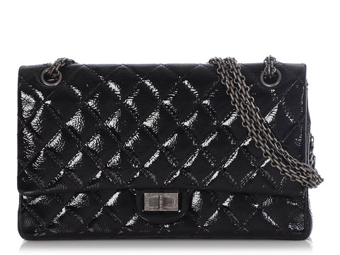 Chanel Black Distressed Quilted Patent 2.55 Reissue 226