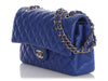 Chanel Medium/Large Blue Quilted Lambskin Classic Double Flap
