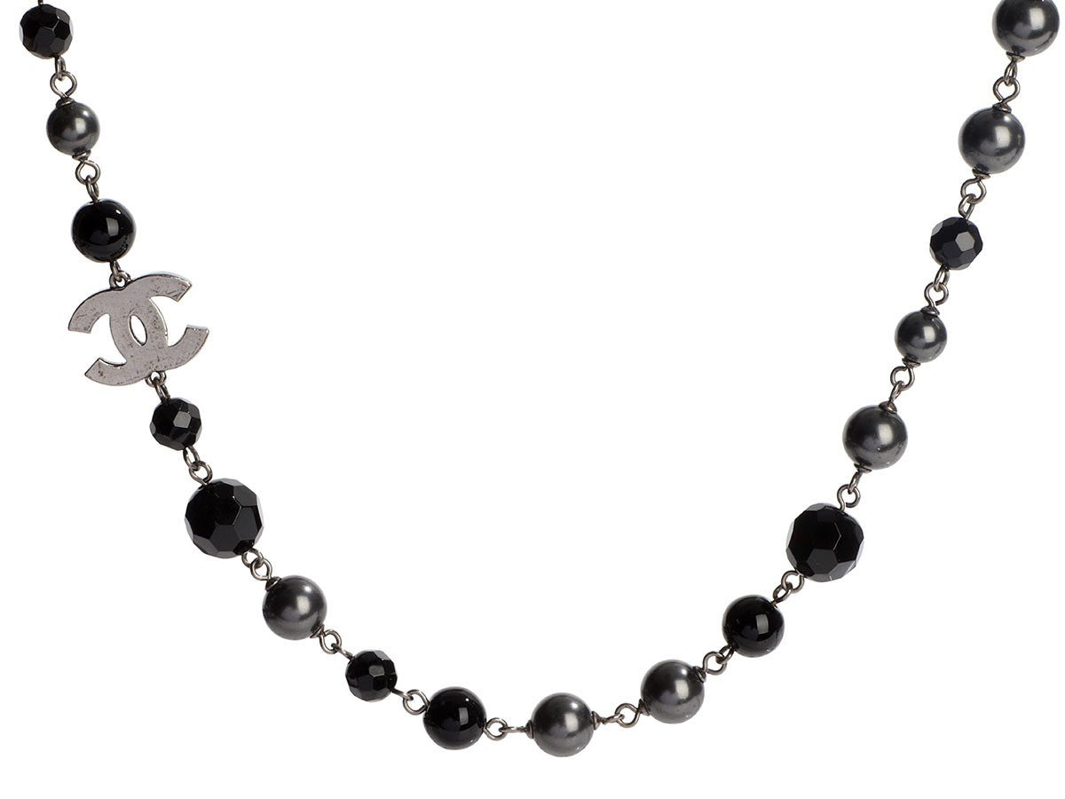 Chanel Long Black Bead and Gray Pearl Logo Necklace
