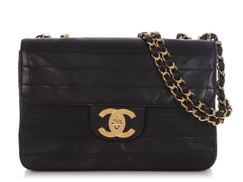Chanel Vintage Black Horizontal-Quilted Lambskin Flap