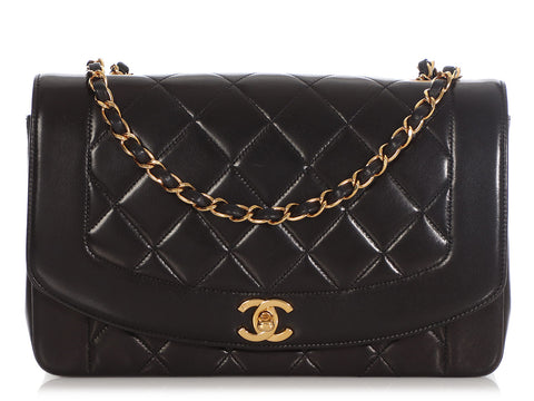 Chanel Vintage Medium Black Quilted Lambskin Diana Flap