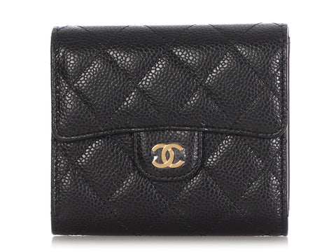 Chanel Small Black Quilted Caviar Classic Flap Wallet