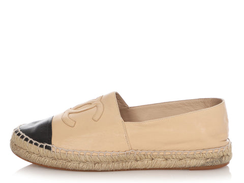 Chanel Beige and Black Espadrilles