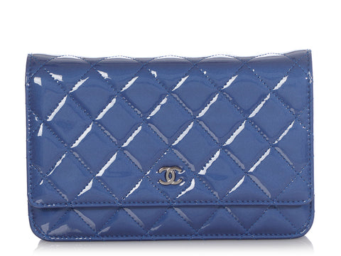 Chanel Blue Quilted Soft Patent Wallet on a Chain WOC