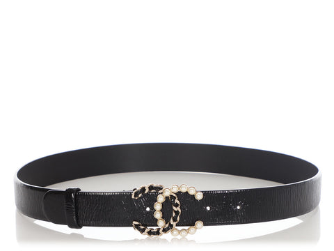 Chanel Black Leather CC Chain and Pearl Belt