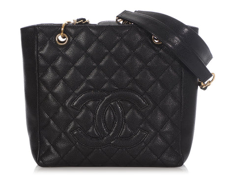 Chanel Black Quilted Caviar Petite Shopping Tote PST