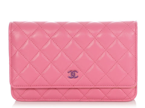 Chanel Pink Quilted Lambskin Rainbow Hardware Wallet on a Chain WOC