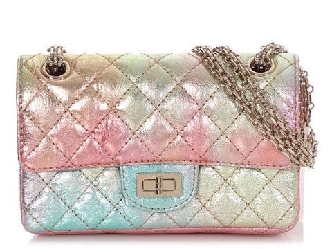 Chanel Mini Rainbow Quilted Metallic Calfskin 2.55 Reissue