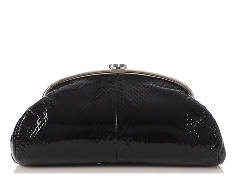 Chanel Black Glazed Python Timeless Clutch