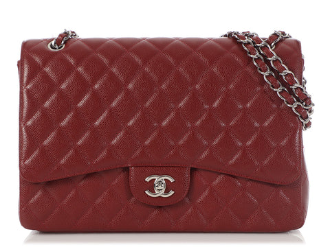 Chanel Maxi Burgundy Quilted Caviar Classic Single Flap