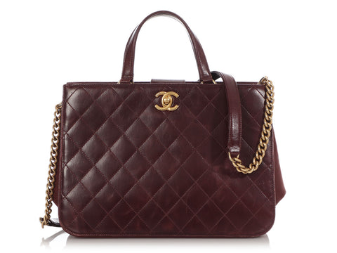 Chanel Burgundy Calfskin and Suede Tote