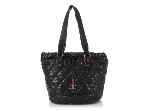 Chanel Black Quilted Lambskin Cloudy Bundle Tote