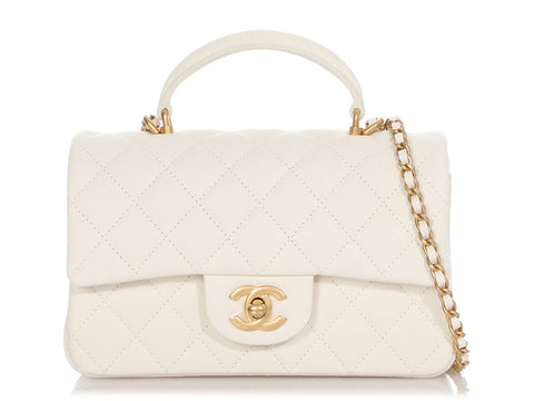 Chanel Mini White Quilted Calfskin Top Handle Flap