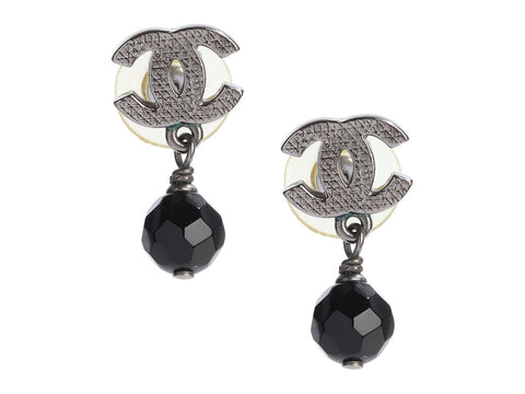 Chanel Logo Black Bead Drop Pierced Earrings