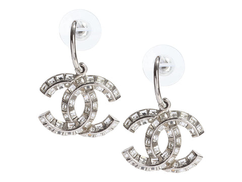 Chanel Medium Crystal Logo Pierced Drop Earrings