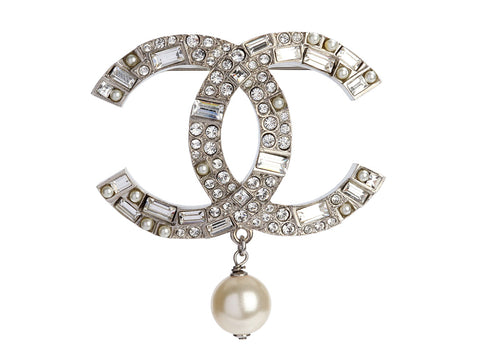 Chanel Large Crystal Logo Pearl Drop Brooch
