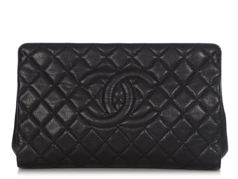 Chanel Black Quilted Caviar CC Clutch