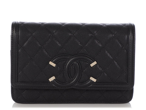 Chanel Black Part-Quilted Caviar Wallet on a Chain WOC