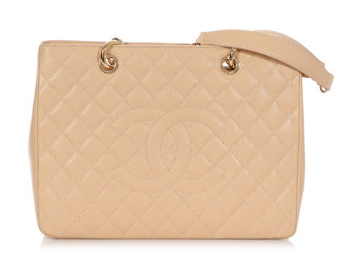 Chanel Beige Clair Part-Quilted Caviar Grand Shopping Tote GST